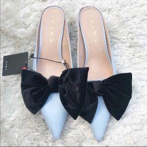 NWT || ZARA Blue Heeled Mules with Velvet Bow